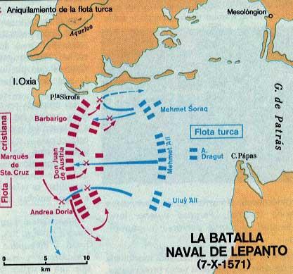 mapa batalla lepanto