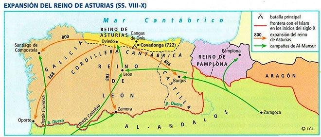 mapa reino astur leones
