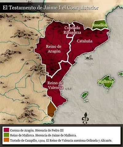 Repartición del territorio de Jaime I de Aragón